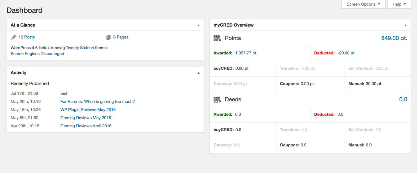 The myCRED Overview dashboard widget.
