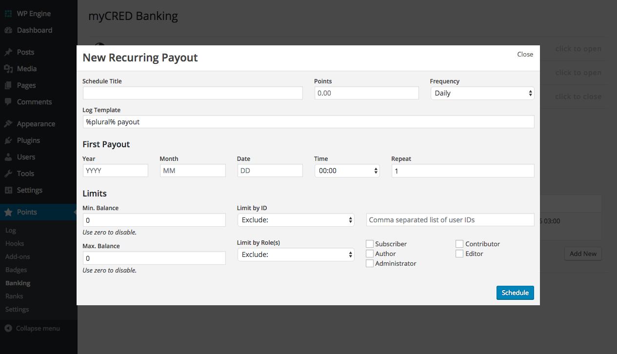 New recurring payout setup modal.