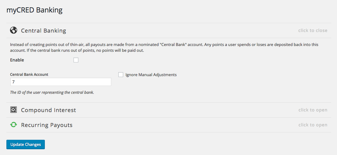 myCRED Central Banking settings.
