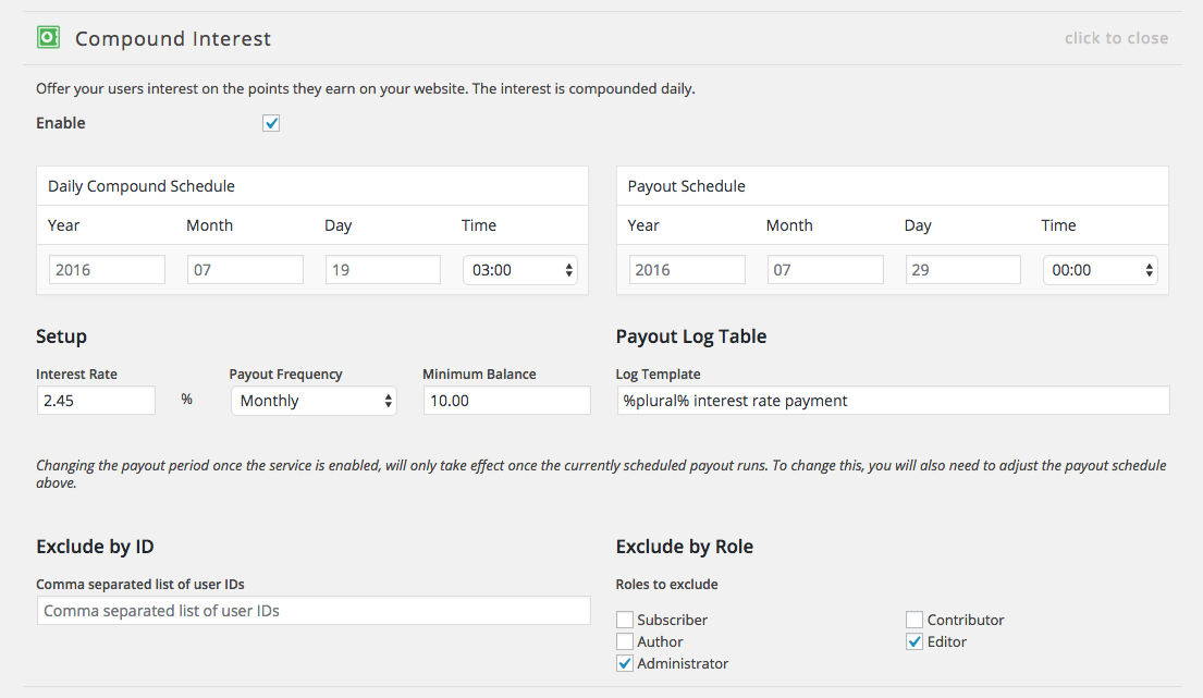 myCRED compound interest settings.