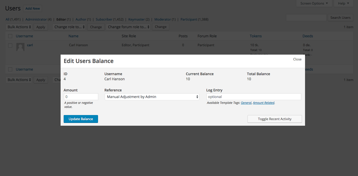 The new balance editor in 1.7 allows you to add a log entry along with your balance adjustment.
