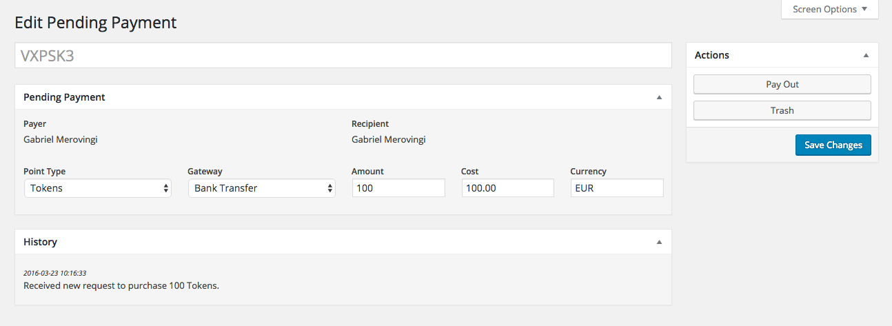 The new payment editor allows you to make changes to requests, approve or decline them.
