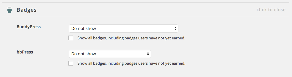 The Badges add-on's settings.