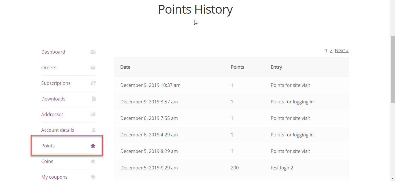 Points History Chart - WooCommerce myCred Plus