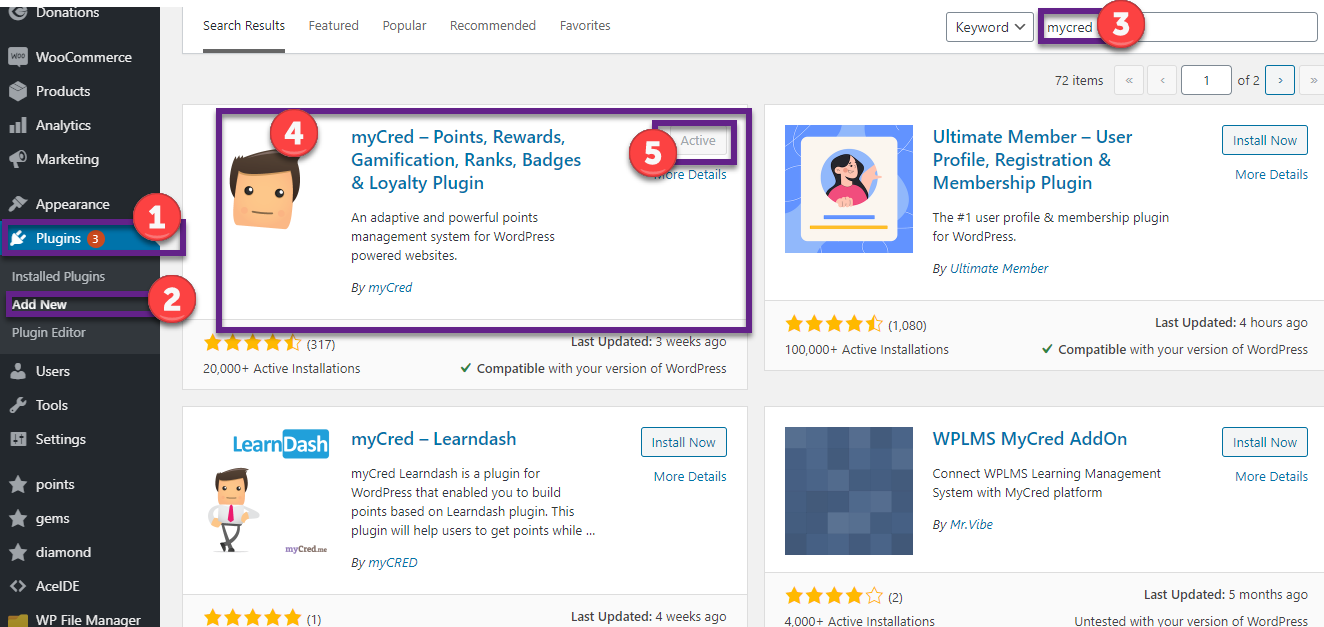 mycred givewp addon install