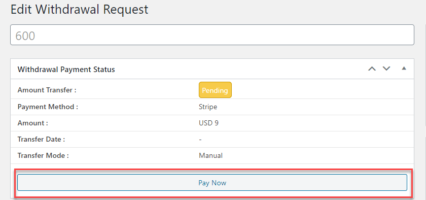 Now admin can take action against selected transaction request