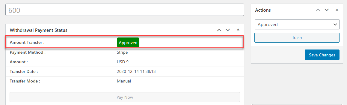 Admin can change the status from 'Approved' to 'Cancelled' or 'Pending' again and the status