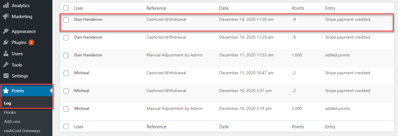 Admin can see the logs for accomplished transactions in 'Points'> 'Logs' tab